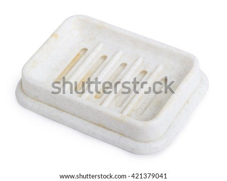Empty soap dish isolated on white background - stock photo