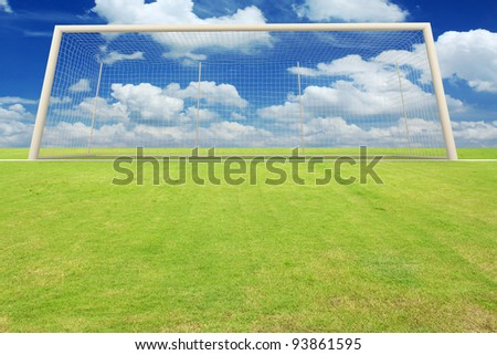 Empty Soccer Goal and a Beautiful Blue Sky. - stock photo