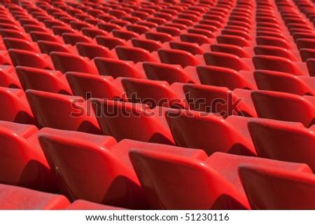 Empty soccer sport stadium bleacher seat chair row - stock photo