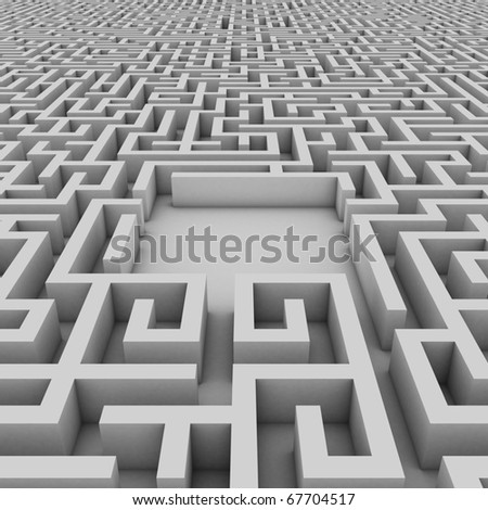 empty space in the endless maze for placing your object of choice