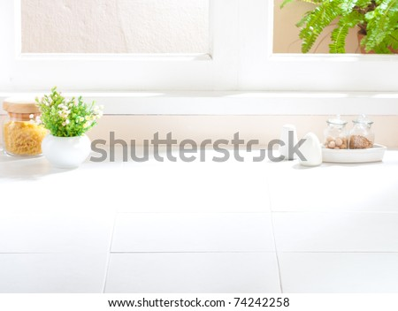 Empty space of the kitchen interior image to putting your ideas or products into it  - stock photo