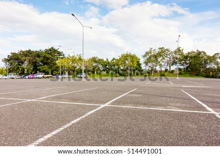 Empty space parking lot outdoor in public park.