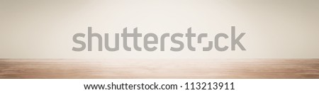 Empty space with wall and wooden floor - stock photo