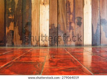 Empty space wooden wall on perspective cement floor. - stock photo