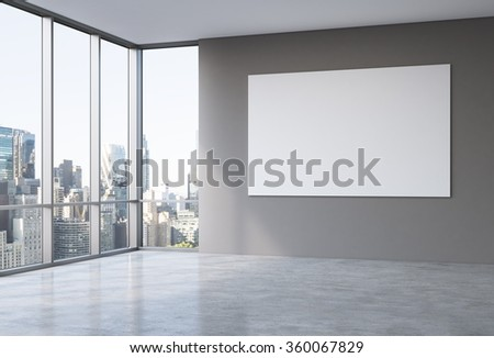 Empty spacious office in a skyscraper, Panoramic window to the left, New York view, big white board on the grey wall. Concept of work. - stock photo