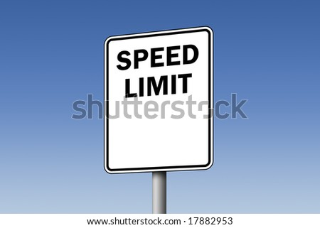 Empty speed limit road sign against blue sky - stock photo