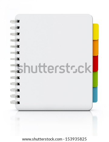empty spiral notebook standing isolated on white background - stock photo