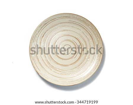 empty spiral pattern plate on white background top view - stock photo