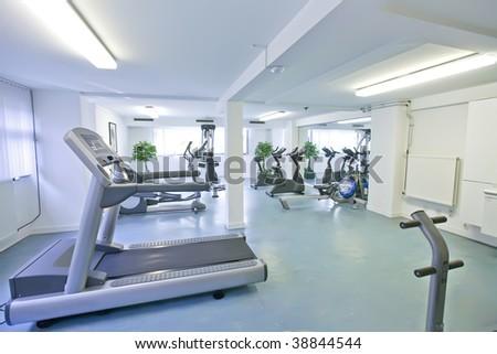 empty sport hall - stock photo
