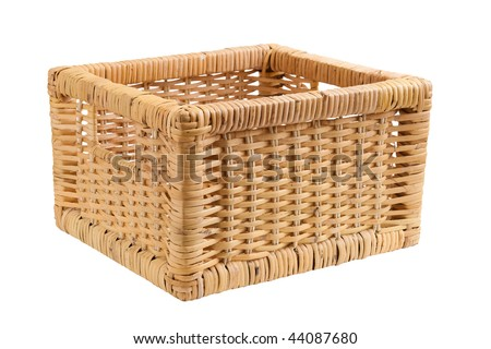 Empty square basket, container, isolated on white background - stock photo