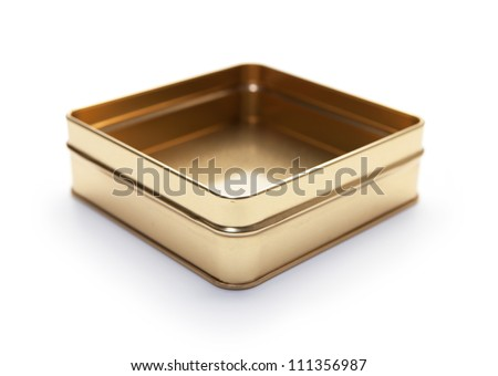 Empty square can or metal candy box, lid open, often used for packaging  premium confectionery.