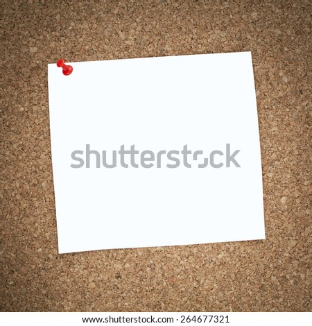 Empty Square Paper Pinned on Cork Notice Board - stock photo
