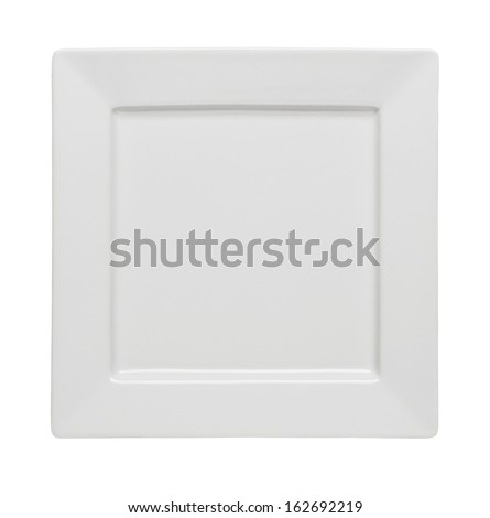 Empty square plate isolated on white background - stock photo