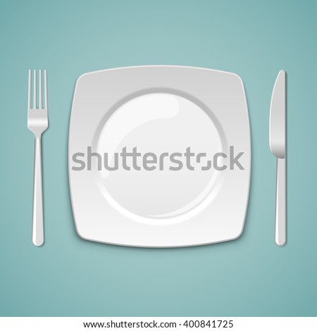 Empty square plate with fork and knife