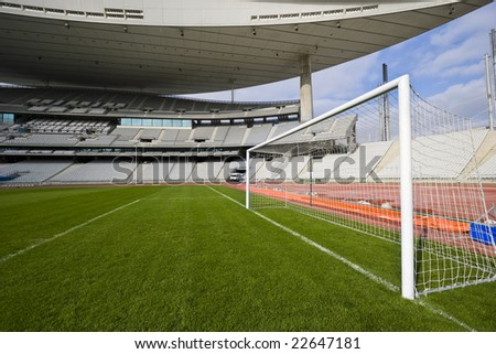 Empty stadium and the goal