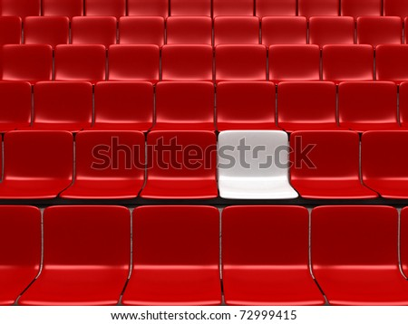 Empty stadium chairs, representing individuality - 3d render - stock photo