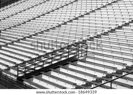 Empty Stadium in Black and White - stock photo