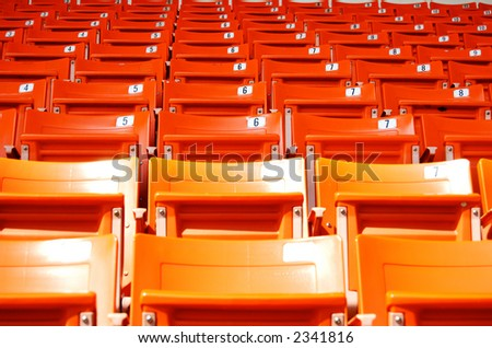Empty Stadium Seat. Outdoor. Bangkok, Thailand. - stock photo