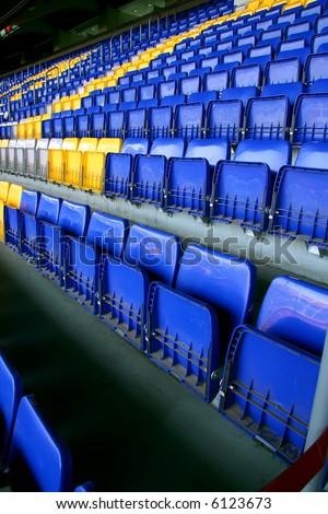 Empty stadium seats on FC Barcelona - stock photo