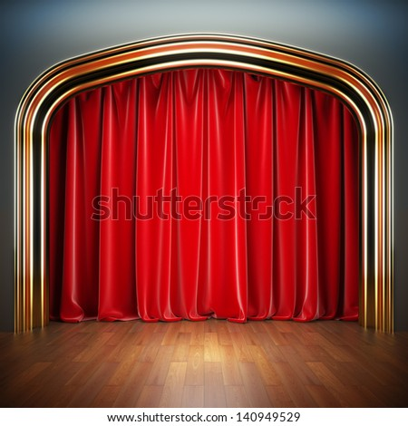 Empty stage. A 3d illustration blank template of theater scene with red velvet curtains. - stock photo