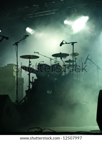 Empty stage with instruments ready for performance - stock photo