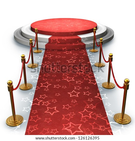 Empty stage with Red carpet isolated on white background High resolution 3d render - stock photo