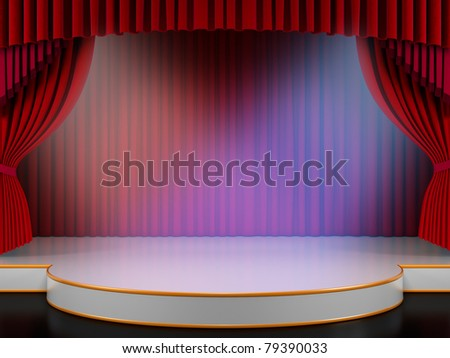 Empty stage with red curtain and volume lights (3d render) - stock photo