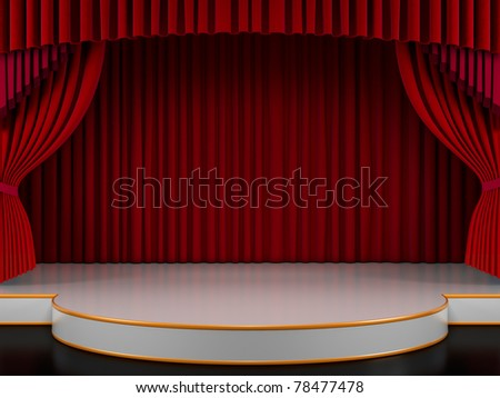 Empty stage with red curtain (3d render) - stock photo