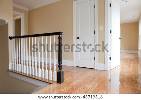Empty Staircase Landing with Detail - stock photo
