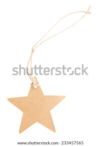 empty star paper tag   isolated on white background - stock photo