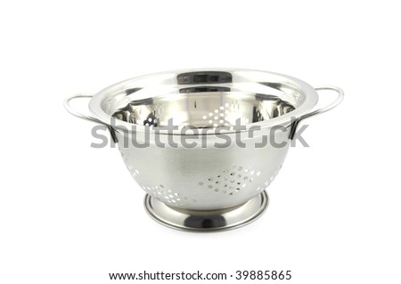 empty steel colander isolated on white background