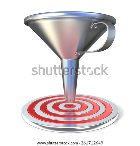 Empty steel funnel and red target. Isolated on white background. Concept of conversion rate, conversion funnel or flow control concept. - stock photo