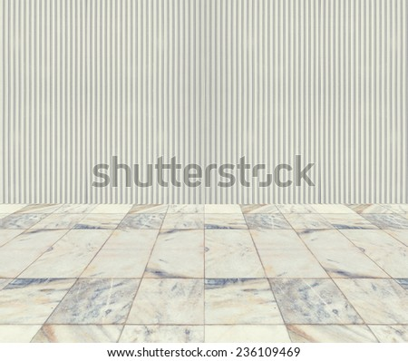 empty stone floor and old metal fence wall pattern