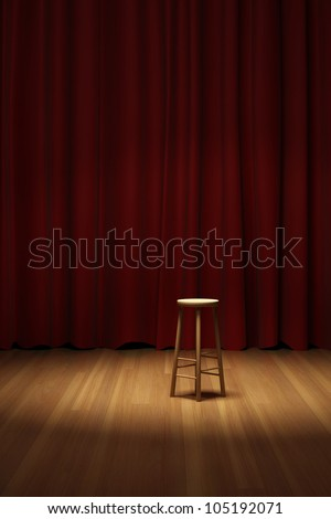 Empty stool on spot light on stage of the theater - stock photo