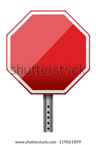 empty stop sign illustration design over white - stock photo
