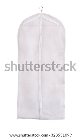 Empty storage clothes cover isolated on white - stock photo