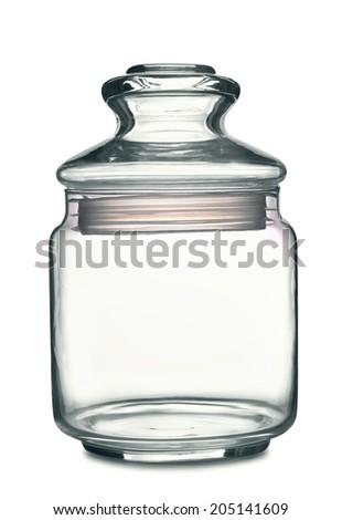Empty storage glass jar isolated on white - stock photo