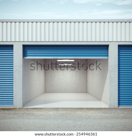 Empty storage unit with opened door. 3d rendering - stock photo