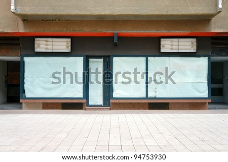 Empty store closed in crisis - stock photo
