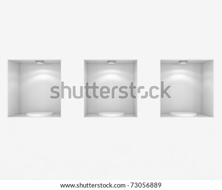Empty Store Showcase - 3d illustration - stock photo