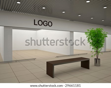 Empty store with signboard - stock photo