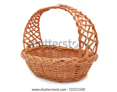 empty straw basket isolated on white - stock photo