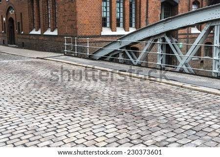 Empty street at Hamburg, Germany - stock photo