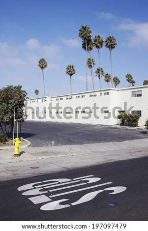 Empty street, California, USA - stock photo