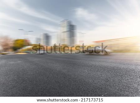 empty street, city in china. - stock photo