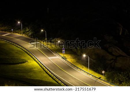 empty street in night, city in china. - stock photo