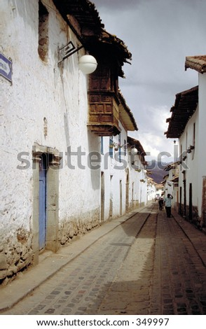 Empty street in South American town