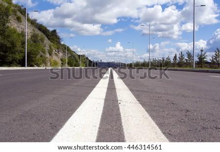 Empty street scene - stock photo