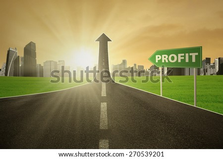 Empty street turning into arrow upward with signpost and a profit text, symbolizing the road to increase profit - stock photo