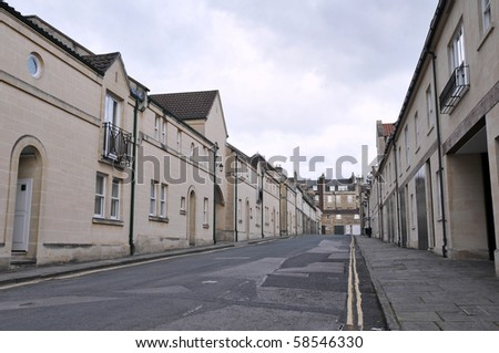 Empty Street with Terraced Houses - stock photo